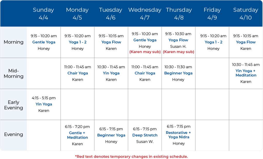 Yoga Balance Schedule 04-04-21